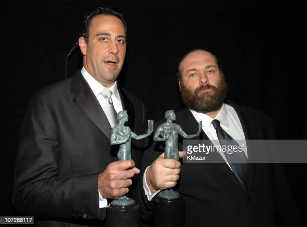 Brad Garrett and James Gandolfini during Ninth Annual Screen Actors Guild Awards Backstage and Audience at The Shrine Auditorium in Los Angeles...