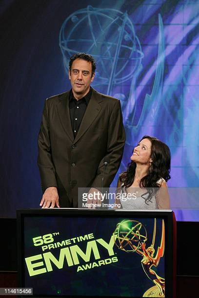 Brad Garrett and Julia LouisDreyfus during 58th Annual Primetime Emmy Nominations Announcement at Leonard H Goldenson Theatre in Los Angeles...