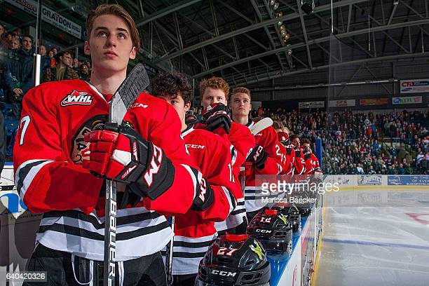 Brad Ginnell of the Portland Winterhawks stands on the bench against the Kelowna Rockets on January 28 2017 at Prospera Place in Kelowna British...