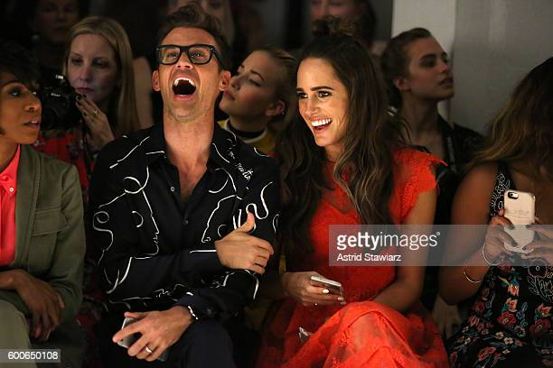 Brad Goreski and Louise Roe attend the Marissa Webb fashion show during New York Fashion Week at The Gallery Skylight at Clarkson Sq on September 8...