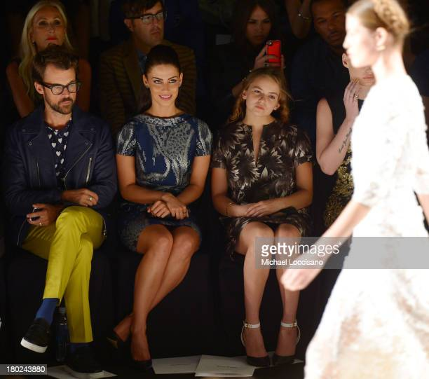 Brad Goreski Jessica Lowndes and Morgan Saylor attend the Naeem Khan fashion show during MercedesBenz Fashion Week Spring 2014 at The Theatre at...