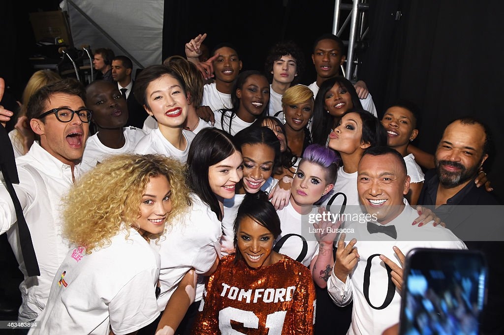 Brad Goreski, Kelly Osbourne, Rose Bertram, Winnie Harlow, Jeffrey Wright, Mary J. Blige, Joe Zee, Rosario Dawson, and June Ambrose pose backstage at Naomi Campbell's Fashion For Relief Charity Fashion Show during Mercedes-Benz Fashion Week Fall 2015 at The Theatre at Lincoln Center on February 14, 2015 in New York City.