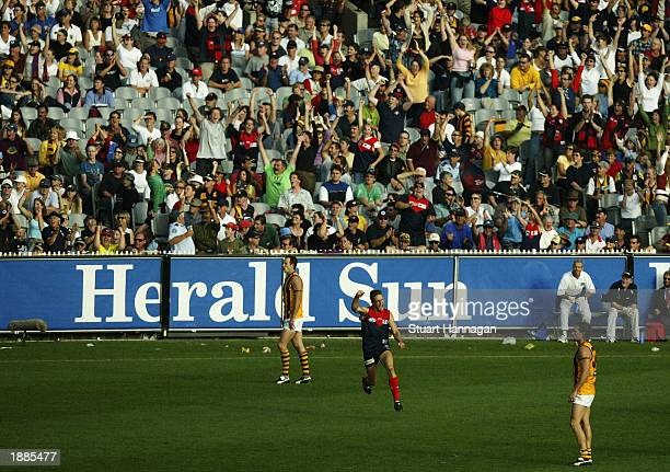 Brad Green of Melbourne kicks the winning goal during the first round match between the Hawthorn Hawks and the Melbourne Demons at the Melbourne...