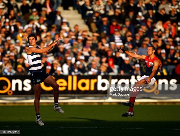 Brad Green of the Demons kicks for goal during the round 10 AFL match between the Geelong Cats and the Melbourne Demons at Skilled Stadium on May 29,...
