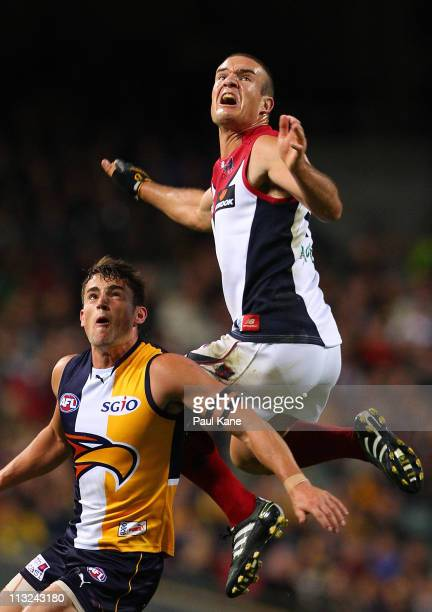 Brad Green of the Demons sets up for a mark against Ashley Smith of the Eagles during the round six AFL match between the West Coast Eagles and the...