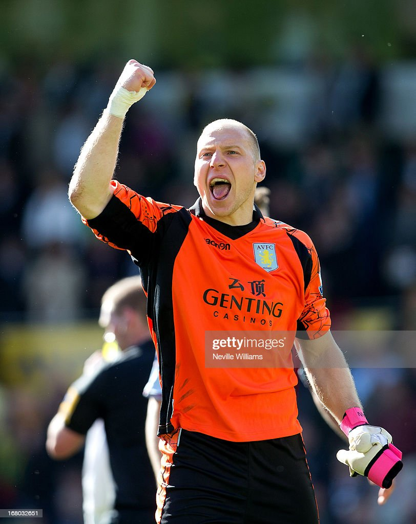 Brad Guzan of Aston Villa celebrates victory after the Barclays Premier League match between Norwich City and Aston Villa at Carrow Road on May 04, 2013 in Norwich, England.