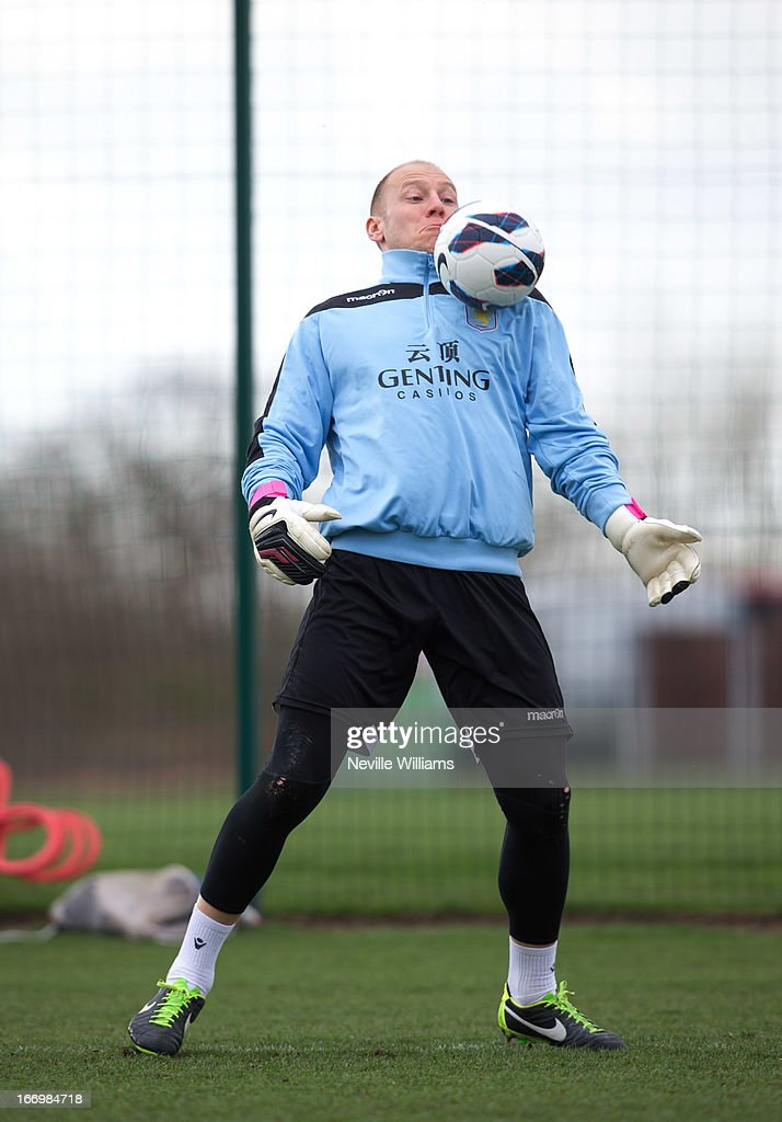 Brad Guzan of Aston Villa in action during a Aston Villa training session at the club's training ground, Bodymoor Heath on April 19, 2013 in Birmingham, England.