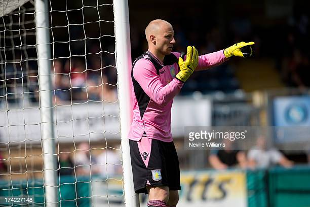 Brad Guzan of Aston Villa in action during the Pre Season Friendly match between Wycombe Wanderers and Aston Villa at Adams Park on July 20 2013 in...