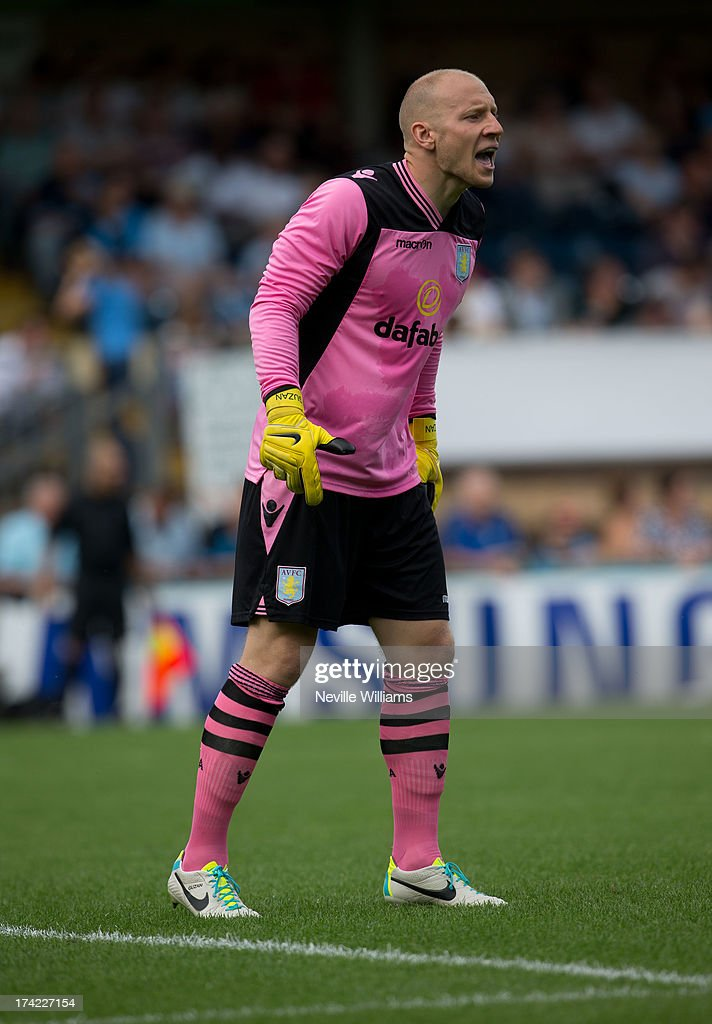 Brad Guzan of Aston Villa in action during the Pre Season Friendly match between Wycombe Wanderers and Aston Villa at Adams Park on July 20, 2013 in High Wycombe, England.
