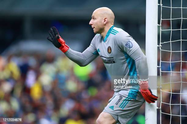Brad Guzan of Atlanta United gestures during a quarter final first leg match between Club America and Atlanta United as part of CONCACAF Champions...