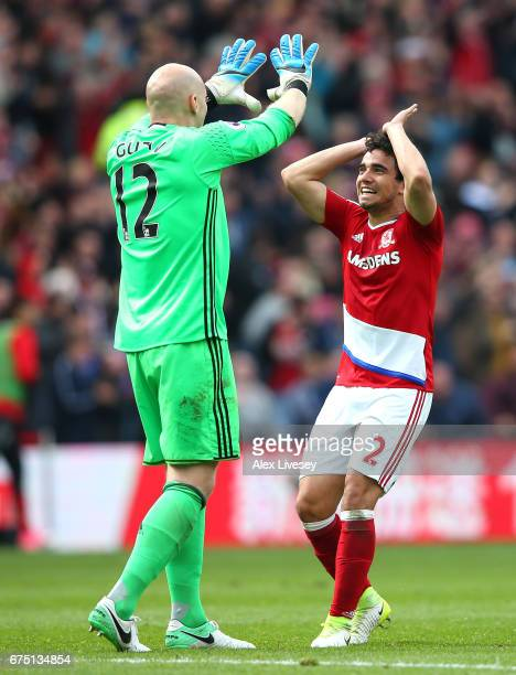 Brad Guzan of Middlesbrough and Fabio Da Silva of Middlesbrough celebrate their sides goal during the Premier League match between Middlesbrough and...