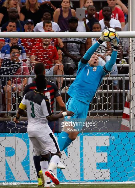 Brad Guzan of the United States makes a save against Ghana in the first half during an international friendly between USA and Ghana at Pratt Whitney...