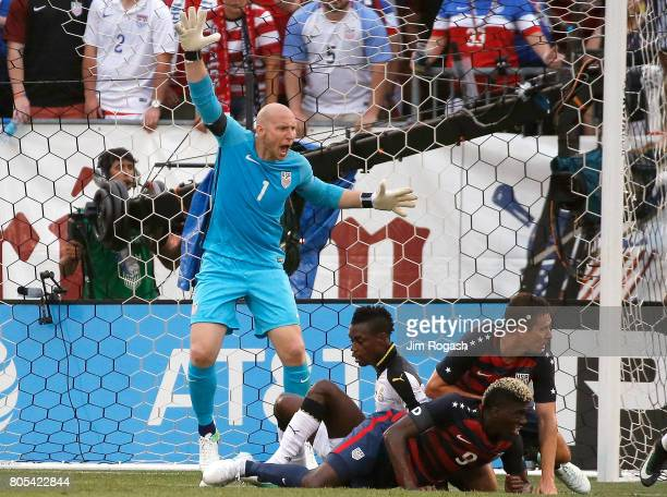 Brad Guzan of the United States reacts after he made a save against Ghana in the second half during an international friendly between USA and Ghana...