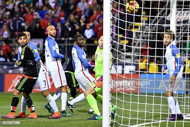 Brad Guzan of the United States watches a header goal by Rafael Marquez of Mexico in the second half during the FIFA 2018 World Cup Qualifier at...