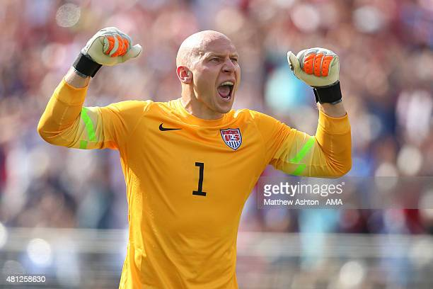 Brad Guzan of United States of America celebrates after the first goal during the Gold Cup Quarter Final between USA and Cuba at M&T Bank Stadium on...