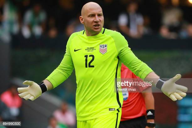 Brad Guzan of United States reacts during the match between Mexico and The United States as part of the FIFA 2018 World Cup Qualifiers at Azteca...