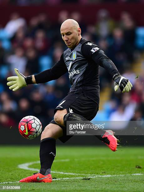 Brad Guzan of Villa in action during the Barclays Premier League match between Aston Villa and Tottenham Hotspur at Villa Park on March 13 2016 in...