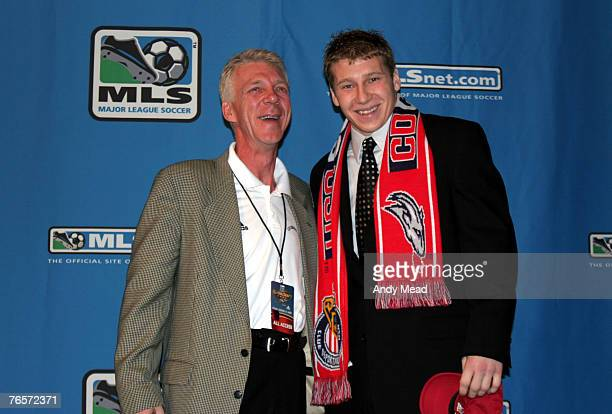 Brad Guzan with head coach Thomas Rongen was taken with the second overall pick on Friday January 14th at the 2005 Major League Soccer SuperDraft...