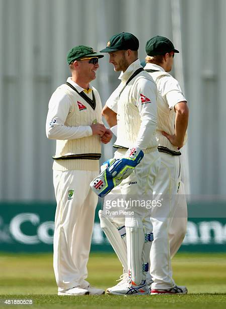 Brad Haddin and Peter Nevill of Australia look on during day three of the Tour Match between Derbyshire and Australia at The 3aaa County Ground on...