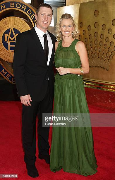 Brad Haddin and wife Karina Haddin arrive at the 2009 Allan Border Medal at the Crown Casino February 3 2009 in Melbourne Australia