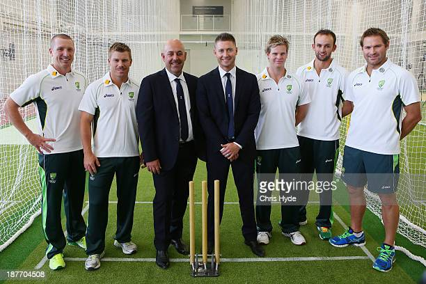 Brad Haddin David Warner Darren Lehman Michael Clarke Steve Smith Nathan Lyon and Ryan Harris pose for a photograph after the Australia Test Squad...