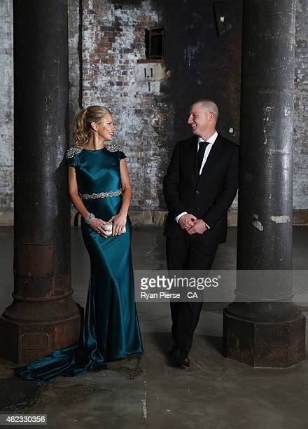Brad Haddin of Australia and his wife Karina Haddin pose ahead of the 2015 Allan Border Medal at Carriageworks on January 27, 2015 in Sydney,...