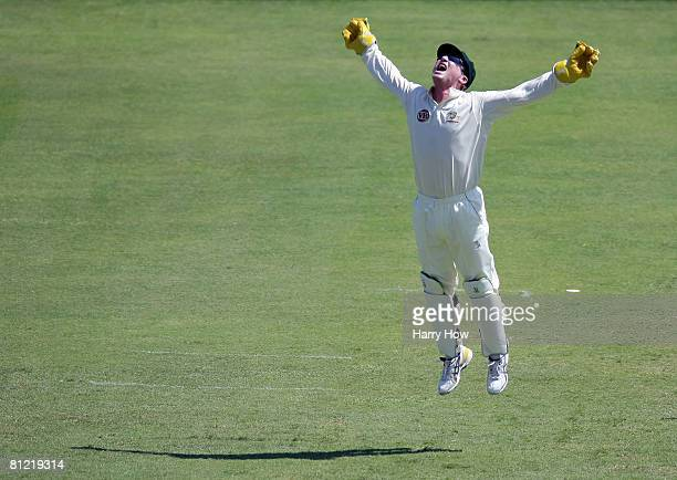 Brad Haddin of Australia appeals unsuccessfully for the wicket of Devon Smith during day two of the First Test match between West Indies and...