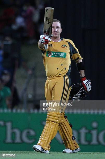 Brad Haddin of Australia celebrates his century during the One Day International match between New Zealand and Australia at Seddon Park on March 9...