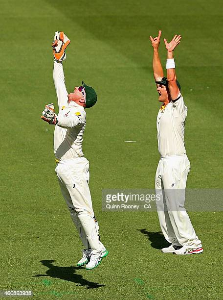 Brad Haddin of Australia celebrates taking a catch to dismiss MS Dhoni of India during day three of the Third Test match between Australia and India...