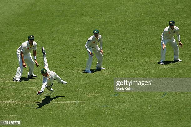 Brad Haddin of Australia dives to stop a ball down the leg side during day two of the First Ashes Test match between Australia and England at The...