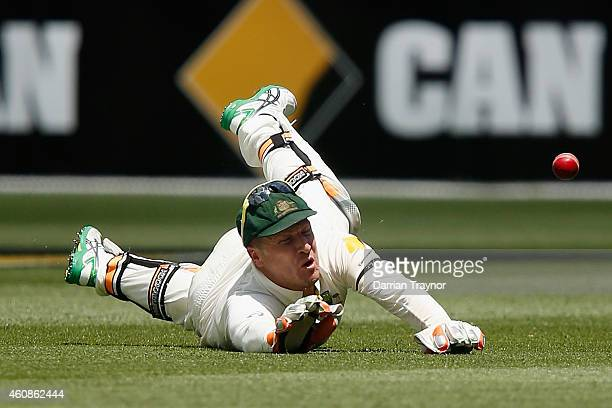 Brad Haddin of Australia drops a catch during day three of the Third Test match between Australia and India at Melbourne Cricket Ground on December...