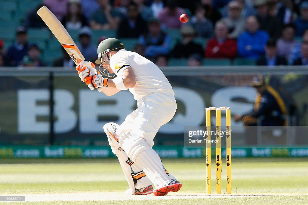 Brad Haddin of Australia evades a bouncer from Umesh Yadav of India during day one of the Third Test match between Australia and India at Melbourne Cricket Ground on December 26, 2014 in Melbourne, Australia.