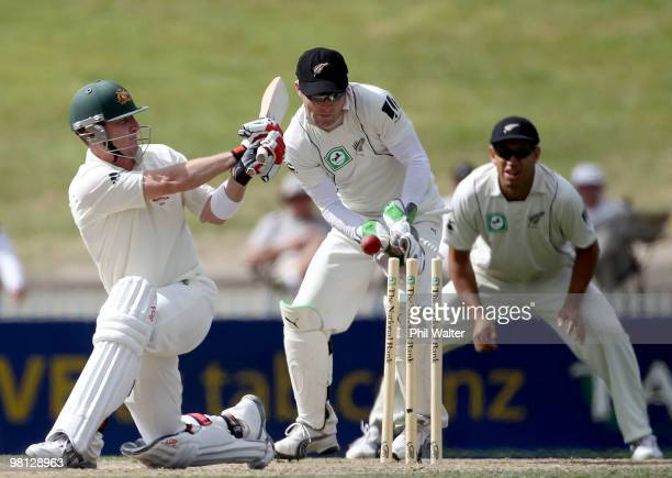 Brad Haddin of Australia is bowled by Jeetan Patel of New Zealand during day four of the Second Test match between New Zealand and Australia at...