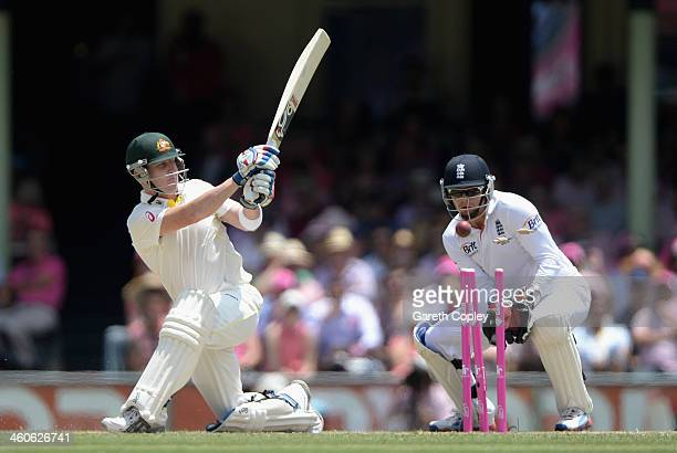 Brad Haddin of Australia is bowled by Scott Borthwick of England during day three of the Fifth Ashes Test match between Australia and England at...