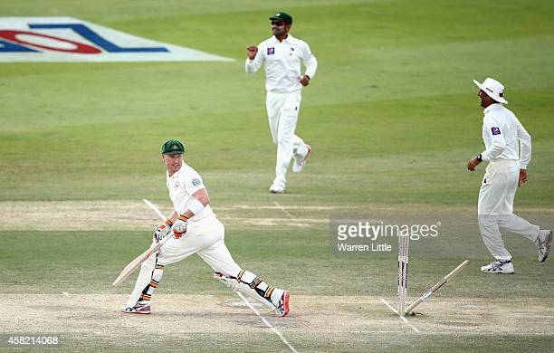 Brad Haddin of Australia is bowled by Yasir Shah of Pakistan during Day Three of the Second Test between Pakistan and Australia at Sheikh Zayed...