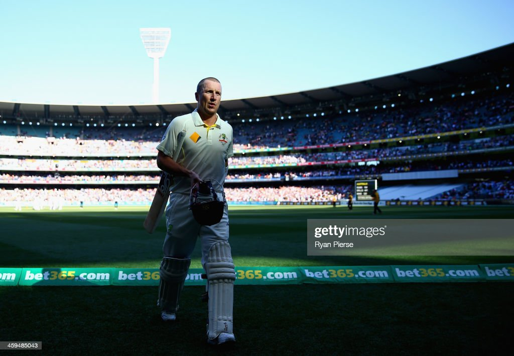 Brad Haddin of Australia leaves the ground at stumps on 43 not out during day two of the Fourth Ashes Test Match between Australia and England at Melbourne Cricket Ground on December 27, 2013 in Melbourne, Australia.