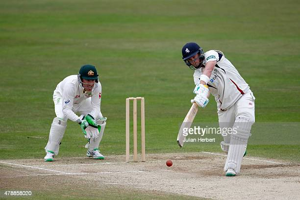 Brad Haddin of Australia looks on as Sam Northeast of Kent scores runs during day four of the tour match between Kent and Australia at The Spitfire...