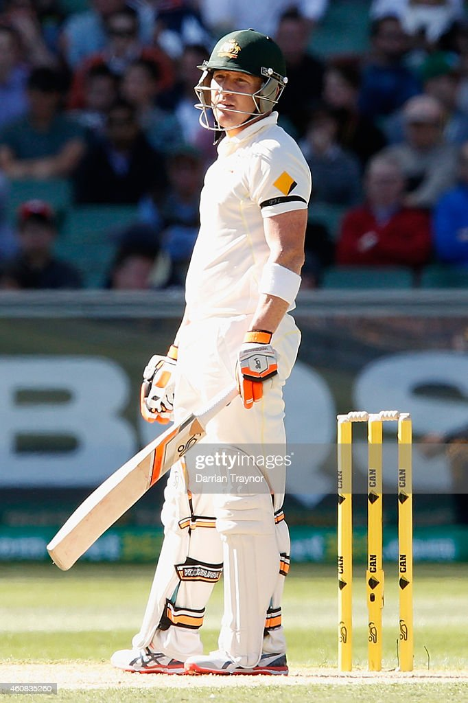 Brad Haddin of Australia stares back at Umesh Yadav of India after evading a bouncer during day one of the Third Test match between Australia and India at Melbourne Cricket Ground on December 26, 2014 in Melbourne, Australia.