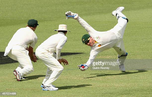 Brad Haddin of Australia takes a catch to dismiss Joe Root of England during day four of the Third Ashes Test Match between Australia and England at...