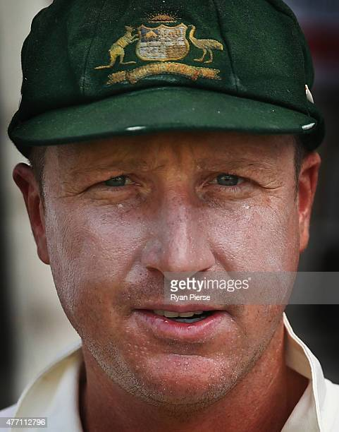 Brad Haddin of Australia takes to the field during day four of the Second Test match between Australia and the West Indies at Sabina Park on June 14,...