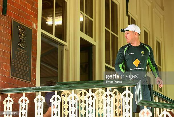 Brad Haddin of Australia walks past the commemorative plaque erected in a tribute to the late Phillip Hughes during an Australian nets session at...