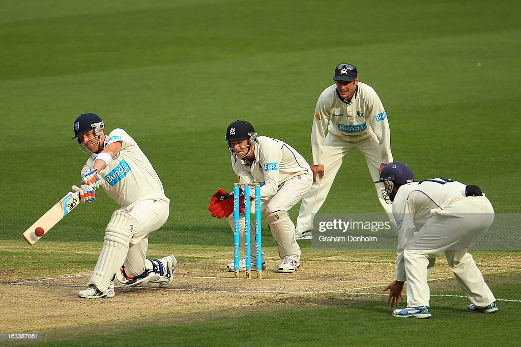 Brad Haddin of the Blues (L) bats during day three of the Sheffield Shield match between the Victorian Bushrangers and the New South Wales Blues at Melbourne Cricket Ground on March 9, 2013 in Melbourne, Australia.