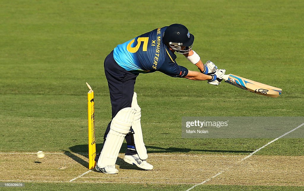 Brad Haddin of the PM's XI is bowled during the International Tour Match between the Prime Minister's XI and West Indies at Manuka Oval on January 29, 2013 in Canberra, Australia.