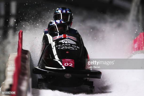 Brad Hall and Joel Fearon of Great Britain finish their final run during the Men's 2Man Bobsleigh on day 10 of the PyeongChang 2018 Winter Olympic...