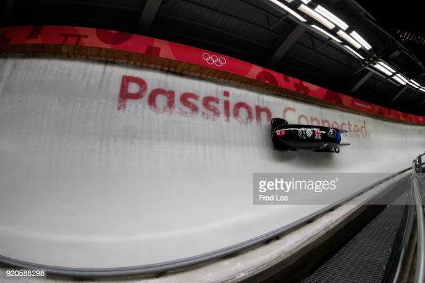 Brad Hall and Joel Fearon of Great Britain make a run during the Men's 2Man Bobsleigh on day 10 of the PyeongChang 2018 Winter Olympic Games at...