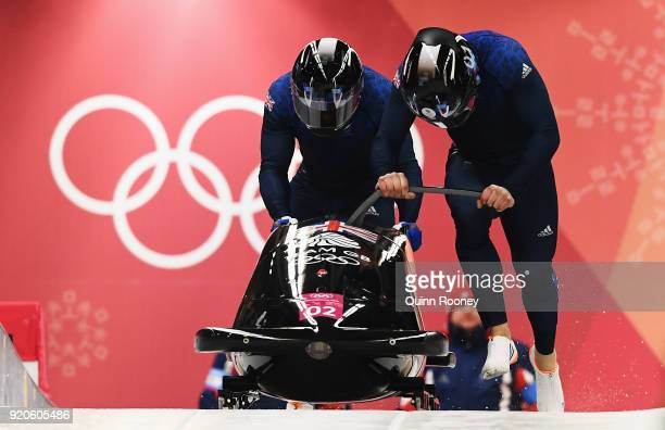 Brad Hall and Joel Fearon of Great Britain make their final run during the Men's 2Man Bobsleigh on day 10 of the PyeongChang 2018 Winter Olympic...