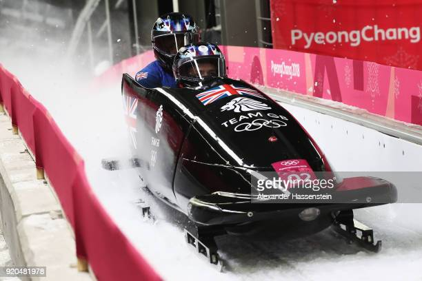 Brad Hall and Joel Fearon of Great Britain slide during the Men's 2Man Bobsleigh on day 10 of the PyeongChang 2018 Winter Olympic Games at Olympic...