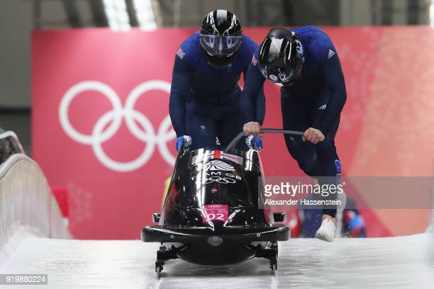 Brad Hall and Joel Fearon of Great Britain slide during twoman Bobsleigh heats on day nine of the PyeongChang 2018 Winter Olympic Games at Olympic...