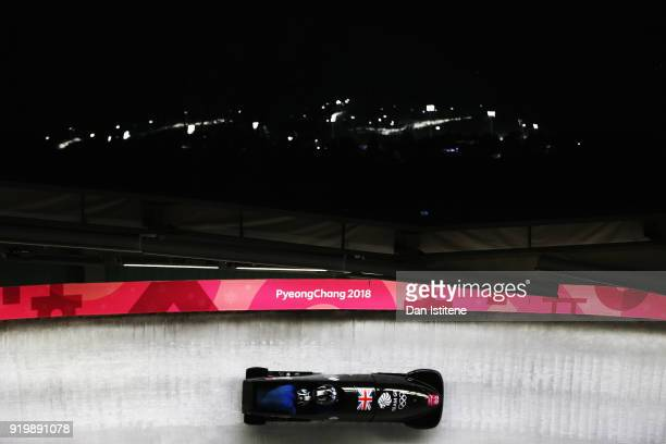 Brad Hall and Joel Fearon of Great Britain slides during twoman Bobsleigh heats on day nine of the PyeongChang 2018 Winter Olympic Games at Olympic...