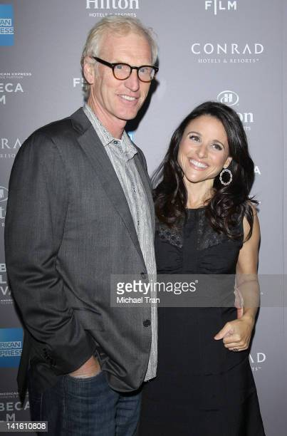 Brad Hall and Julia LouisDreyfus arrive at the 2012 Tribeca Film Festival and American Express Los Angeles reception held at The Beverly Hilton Hotel...